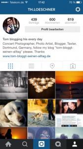 Tom bloggt seinen Alltag Instagram