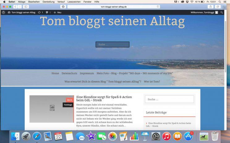 Screenshoot altes Design, Tom bloggt seinen Alltag, toms blog wird zwei jahre alt