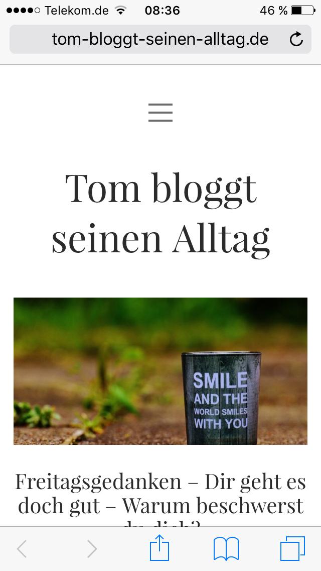 tom bloggt seinen alltag, freitagsgedanken, komm lach schon - denn du bist glücklich